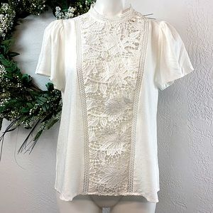 All In Favor Ivory Short Sleeve Blouse, Lace Panel